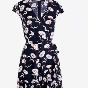 J. Crew Dresses - J Crew Mercantile Navy Blue floral faux wrap dress